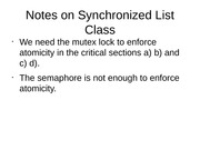 Notes on Synchronized List Class