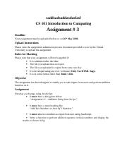 Introduction to Computing - CS101 Spring 2006 Assignment 03