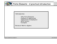 Finite Elements –A practical introductionFinite introduction