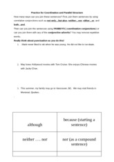 3 Practice for Sentence Exercise on Coordination and Subordination