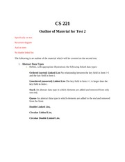 CS 221 Test 2 Study Guide