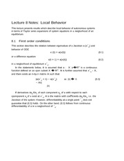 Lecture 8 Notes Local Behavior