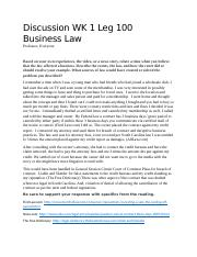 Week 1 Discussion Leg 100 BUS LAW.docx