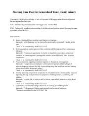 Care plan for Seizure.docx - Nursing Care Plan for ...