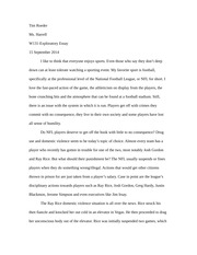 Student Exploratory Essay about Professional Athletes and their conduct
