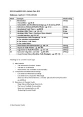 ECO 321 and ECO 321E Lecture Plan