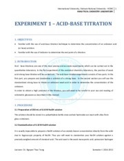 Instruction for Exp. 1 Acid-Base titration