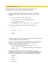 MAT 221 - Week 1 - DQ 1 - Evaluating Algebraic Expressions
