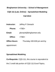 CQS 111 Lab, Online_Spreadsheet Modeling