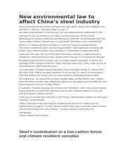 New environmental law to affect China's steel industry