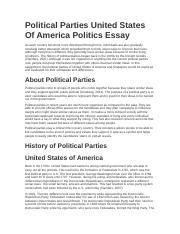 Political Parties United States Of America Politics Essay.docx