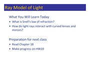 Class 132 - Ray Model of Light