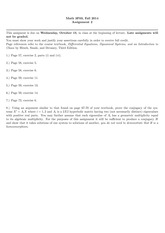 3F03 2014 Assignment 2 with solutions