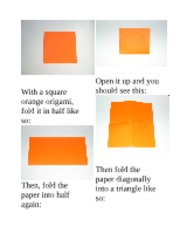 With a square orange origami