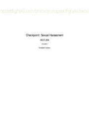 Checkpoint Sexual Harassment Scenario