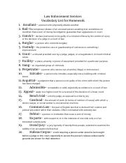 Copy of Law Enforcement Services Vocabulary List for Homework