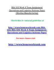 BSA 502 Week 4 Team Assignment Operations and Logistics Systems Paper (Riordan Manufacturing).doc