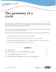 The geometry of a circle