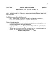 MGMT 250_Midterm Exam Study Guide