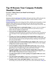 Top 10 Reasons Your Company Probably Shouldnt Tweet
