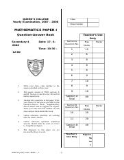 S4 07-08 Maths Paper 1 Yearly.doc