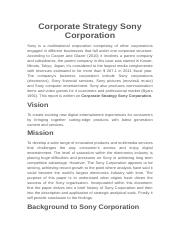 Corporate Strategy Sony Corporation.docx