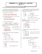 2012 CHEM112 Quiz3 Section1 Answers