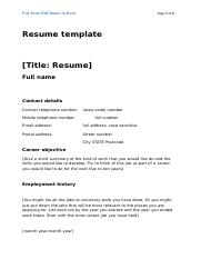 Resume template - Standard