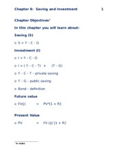 CHAPTER 8 -  SAVING AND INVESTMENT B