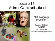 Lecture 15 Animal Communication