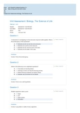 Unit Assessment Biology, The Science of Life_do