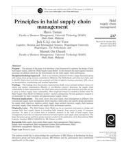 Tieman et al- 2012- Journal of Islamic Marketing- Principles in halal supply chain management