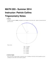 MATH 203 Trigonometry Notes
