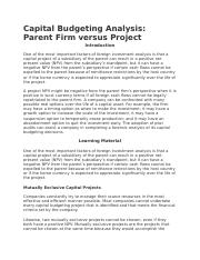 Capital Budgeting Analysis- Parent Firm versus Project.docx