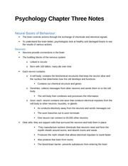 Psychology Chapter Three Notes
