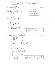 Exam 3 Solution on Calculus 1