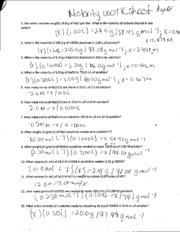 molarity homework