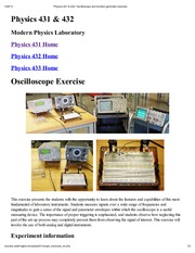 Physics 431 & 432_ Oscilloscope and function generator exercise