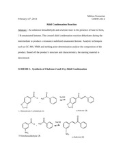 aldol condensation reaction to produce chalcone