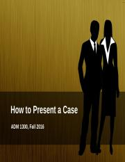 2. How to Present a Case (1)