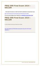 PROJ 598 Final Exam 2014 – KELLER