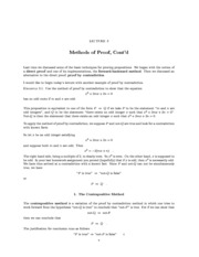 Lecture on Methods of Proof, Cont'd