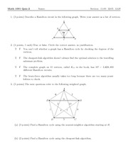 Quiz 2 on Excursions in Mathematics