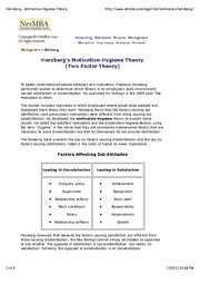 Herzberg - Motivation-Hygiene Theory
