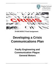 MoM Part 2 Crisis Communications Assignment 78-600 W2017 .docx
