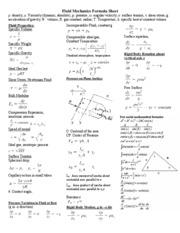fluid dynamics equation sheet. me 367 formula sheet - fluid mechanics density viscosity( dynamic absolute p pressure angular velocity surface tension shear stress g dynamics equation o