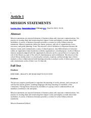 BUSI 310 DB 2- Articles- Mission Statement
