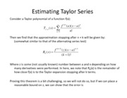 Lesson 28a - Approximating Taylor Series