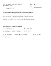 CHEM 114 - Quiz 2 Answer Key