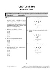 ClepChemistryQ - CLEP Chemistry Practice Test Time90 Minutes